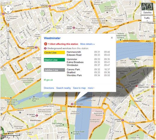 Live Tube Updates via Google Maps for London 2012
