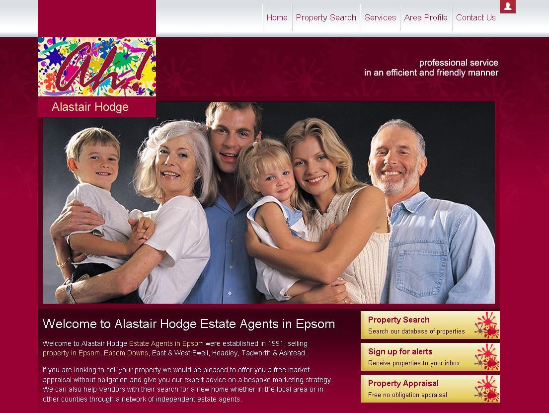New website design for Alastair Hodge Estate Agent in Epsom