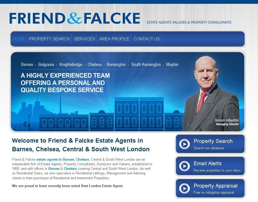 New website design for Friend & Falcke Estate Agent in the Barnes and Chelsea
