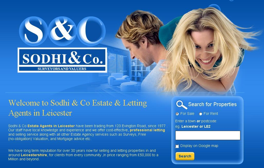 New website design for Sodhi and Co Estate Agent in Leicester