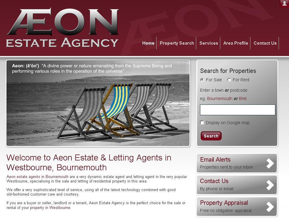 New website design for Aeon Estate Agents in Bournemouth